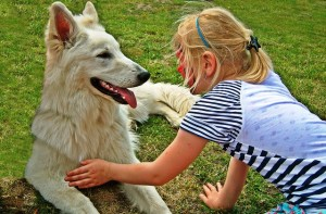 """Kislány simogatja a kutyáját, aki szinte """"nevet"""""""