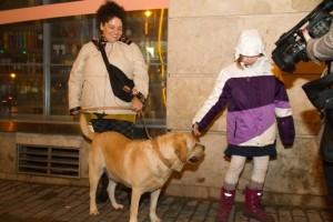 egy kislány, aki volt az előadáson, simogatja épp Bajuszt
