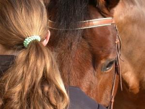Egy lány odahajol a lovához