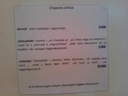 Vicces szöveg egy vidéki rendelő ajtaján a chipek áráról